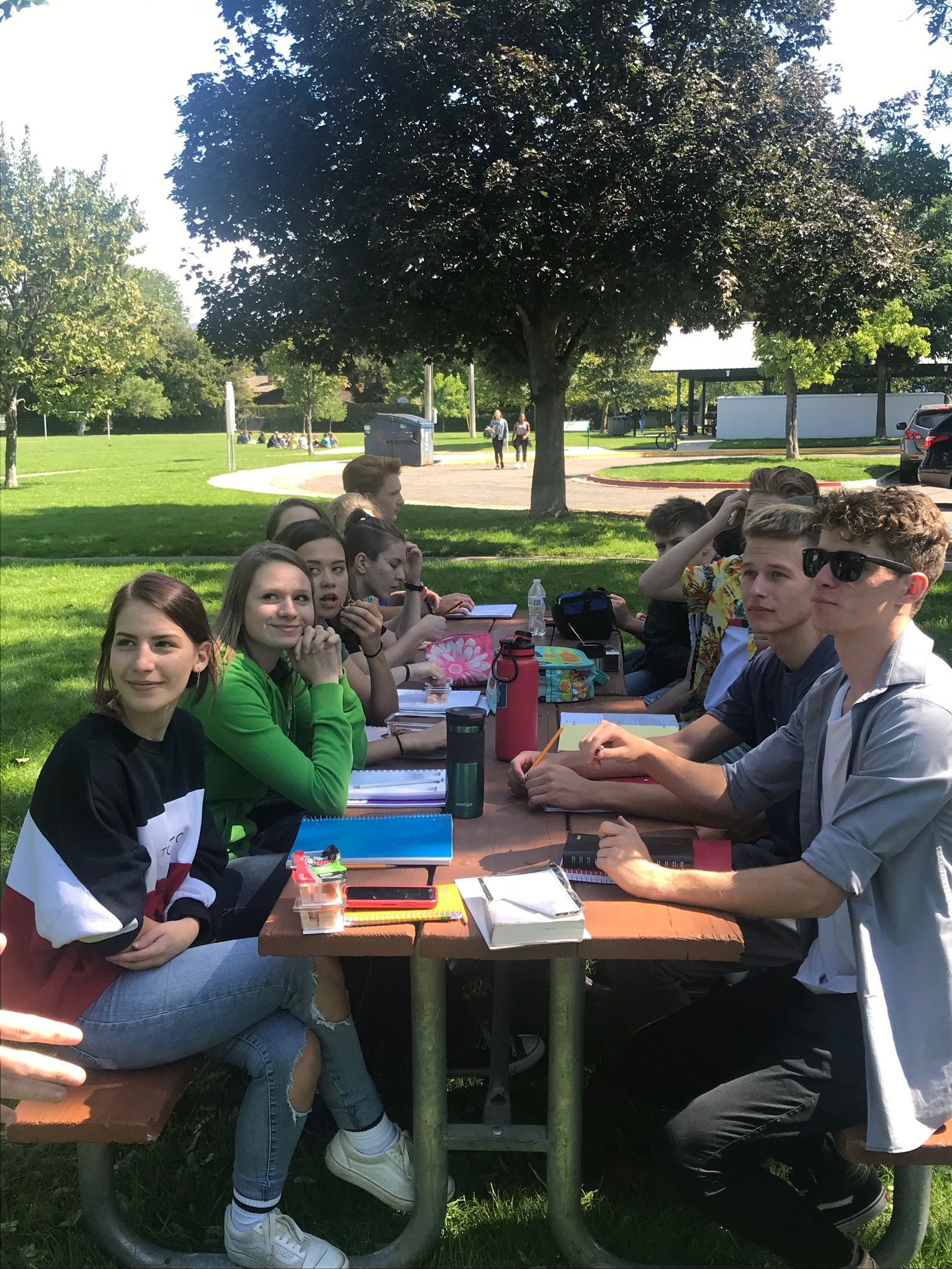 When conditions became…less than optimal halfway through the morning at the Boise Church of Christ the second week of school, BCA students and staff barely missed a beat, moved school to a nearby park, and kept learning.