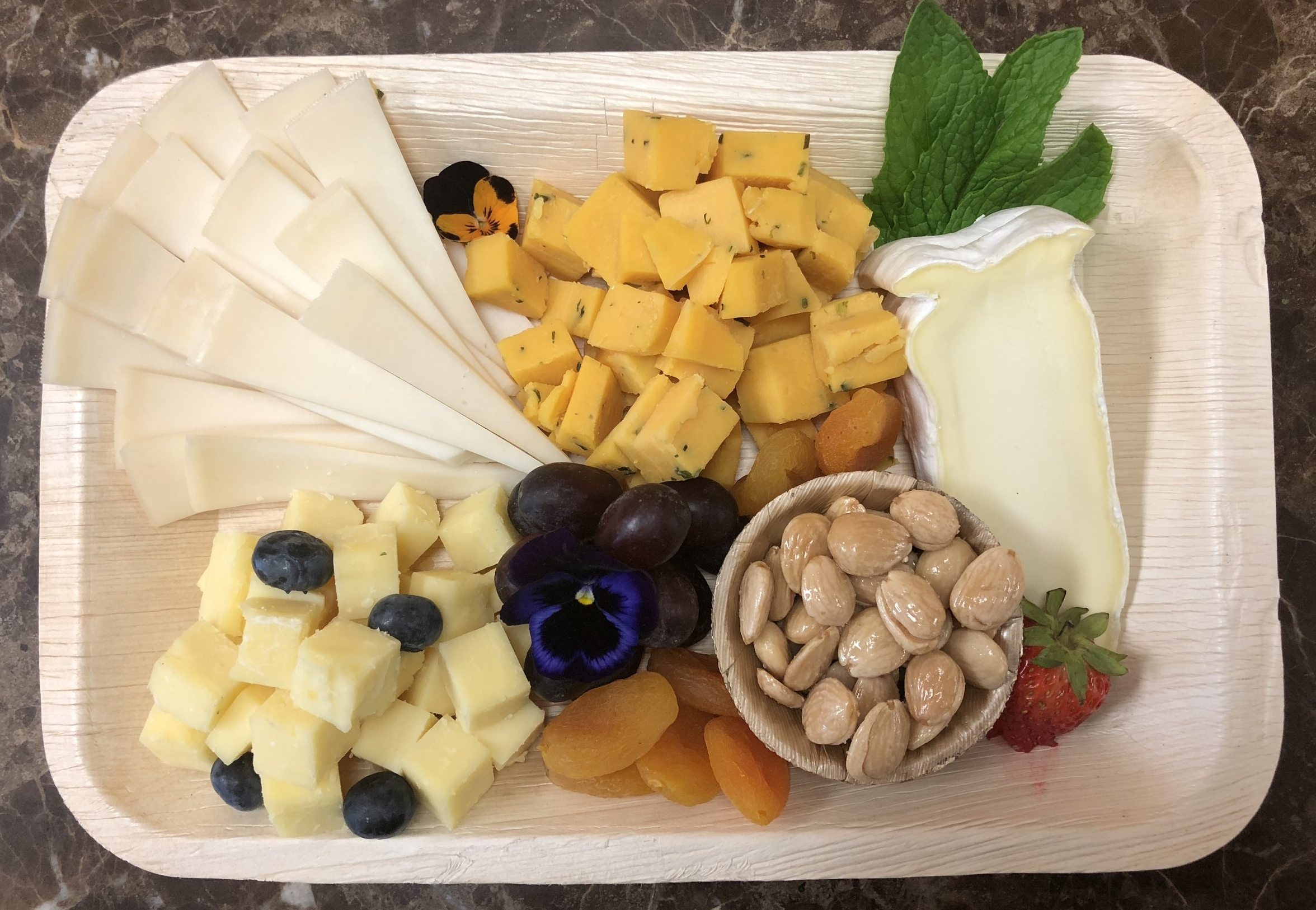 Small Cheese Plate - 3-4 Select cheese, nuts, fruits & mixed greens