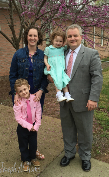 Laura and Scott Martin with their children Joseph and Emily, Easter 2016