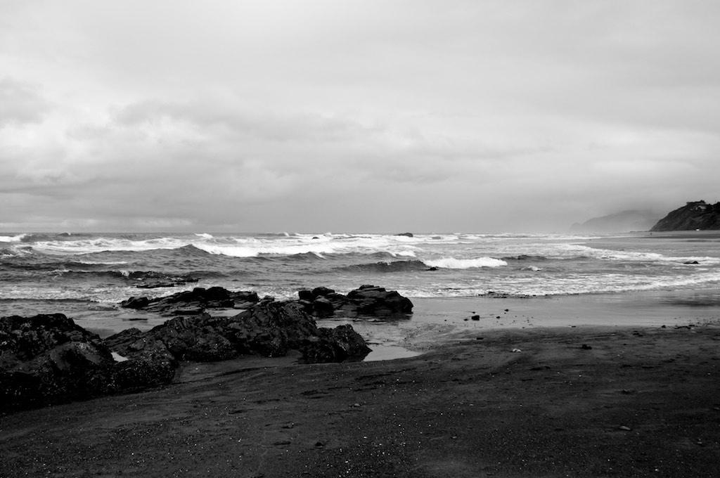 black and white photo: oregon coast