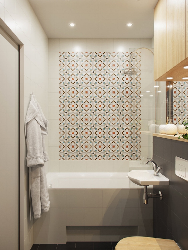 Unique tile accent wall in the bathroom