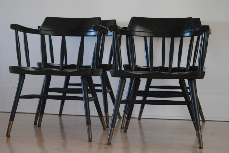 Mid century black Thonet chairs