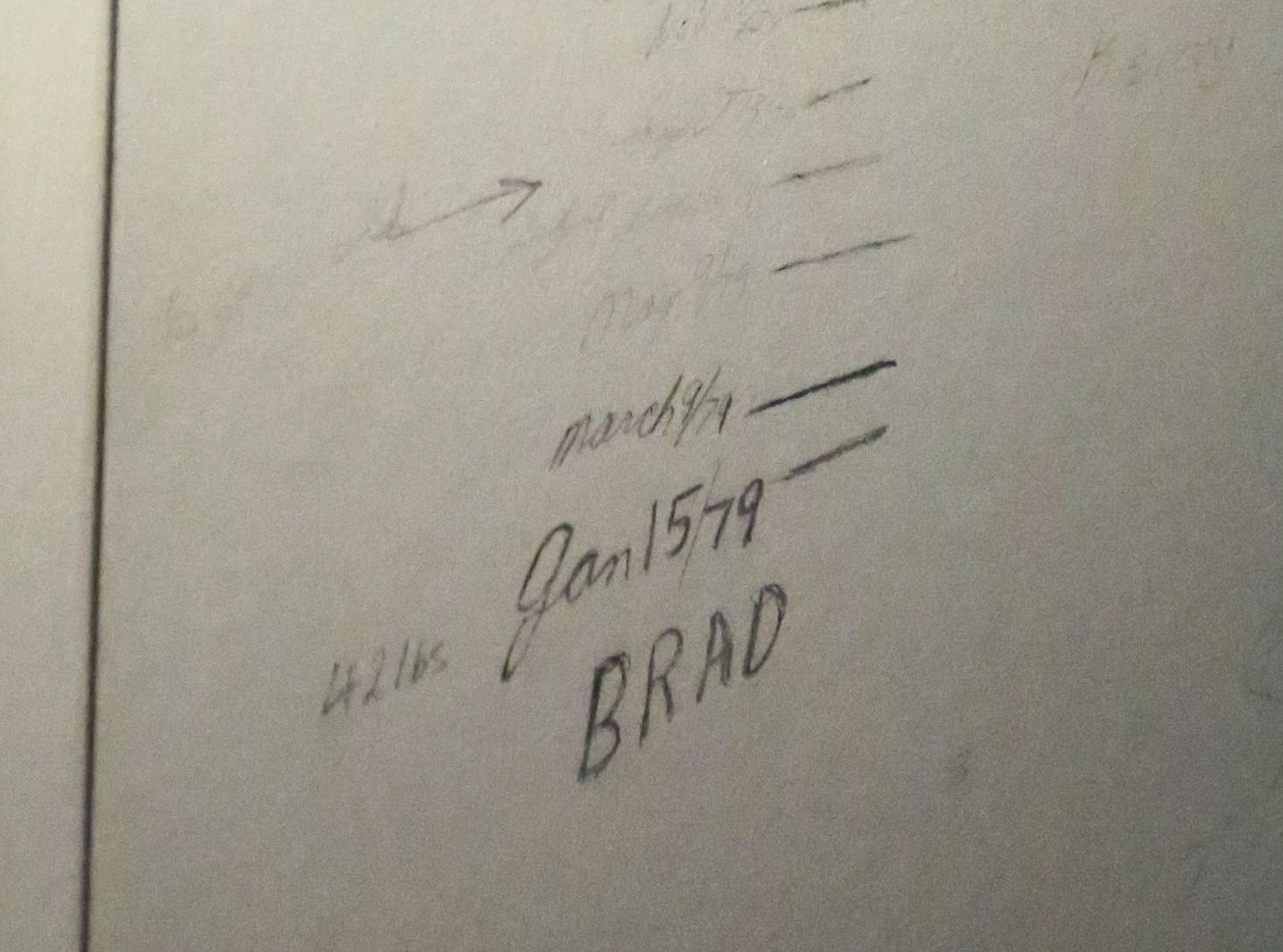 Growth chart penciled inside the upstairs closet