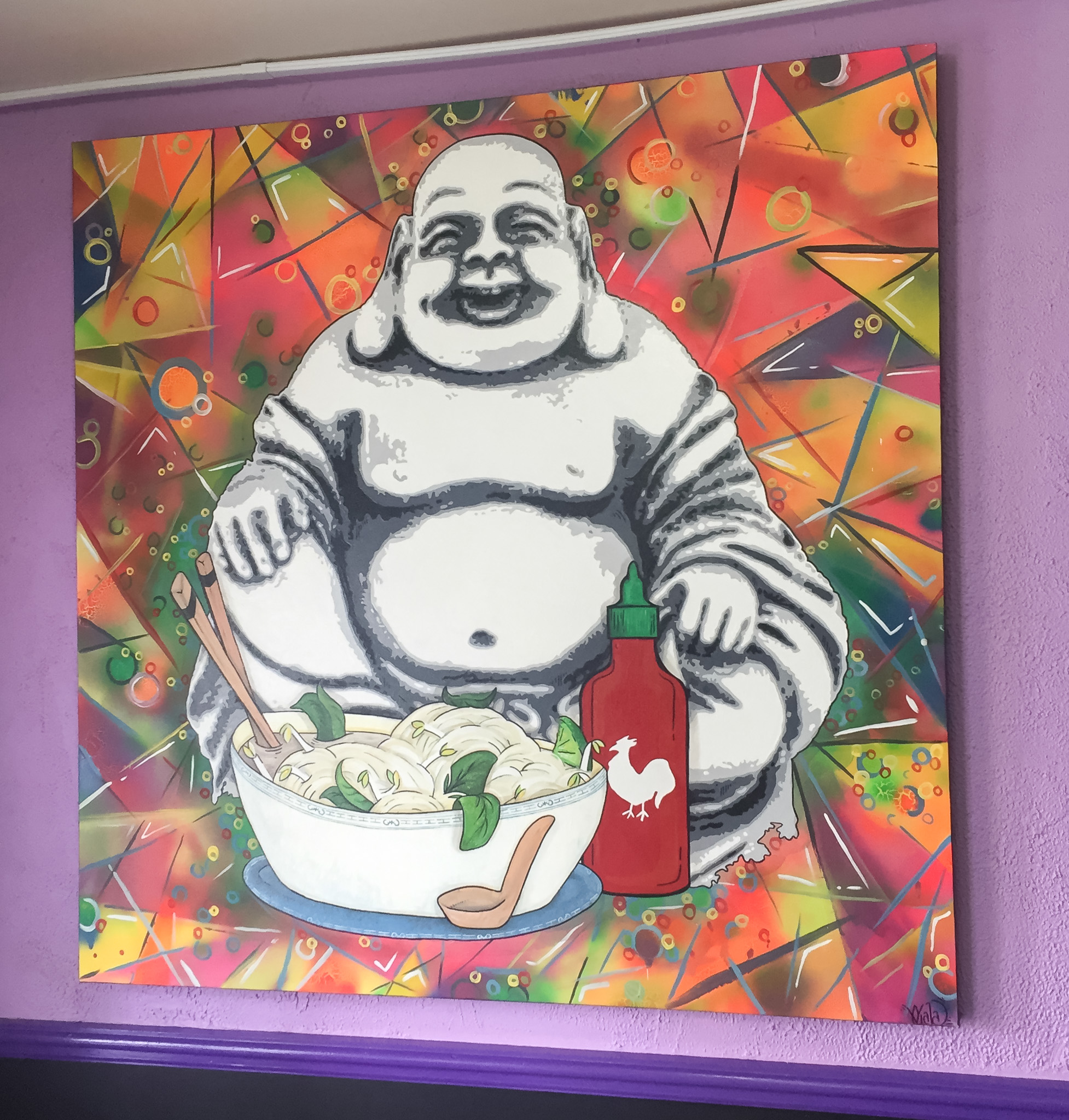 This Jolly guy greets you when you enter Asian Hut