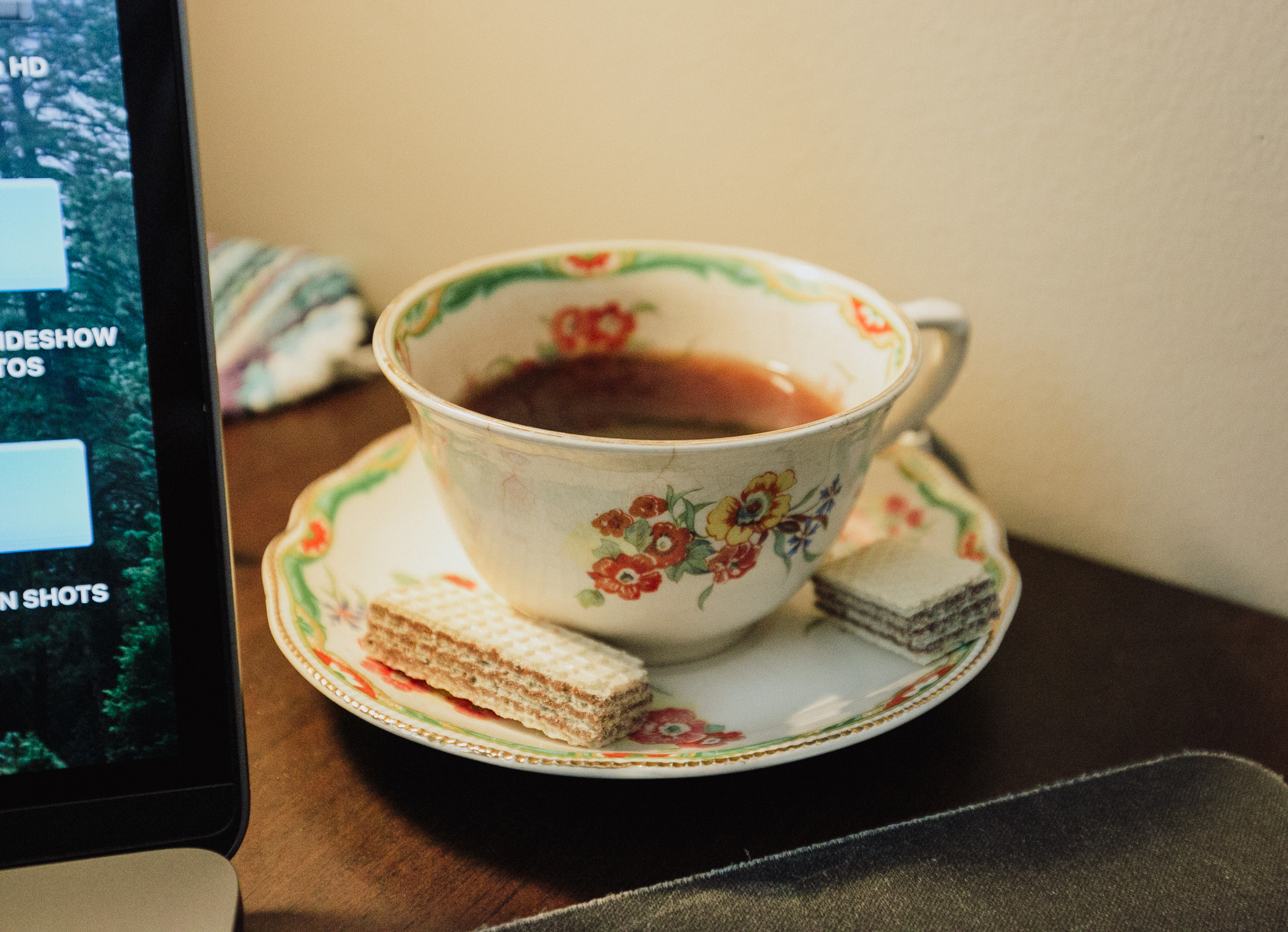 Tea Time in the editing cave
