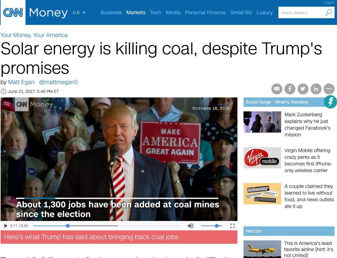 CNN Money, June 21st, 2017