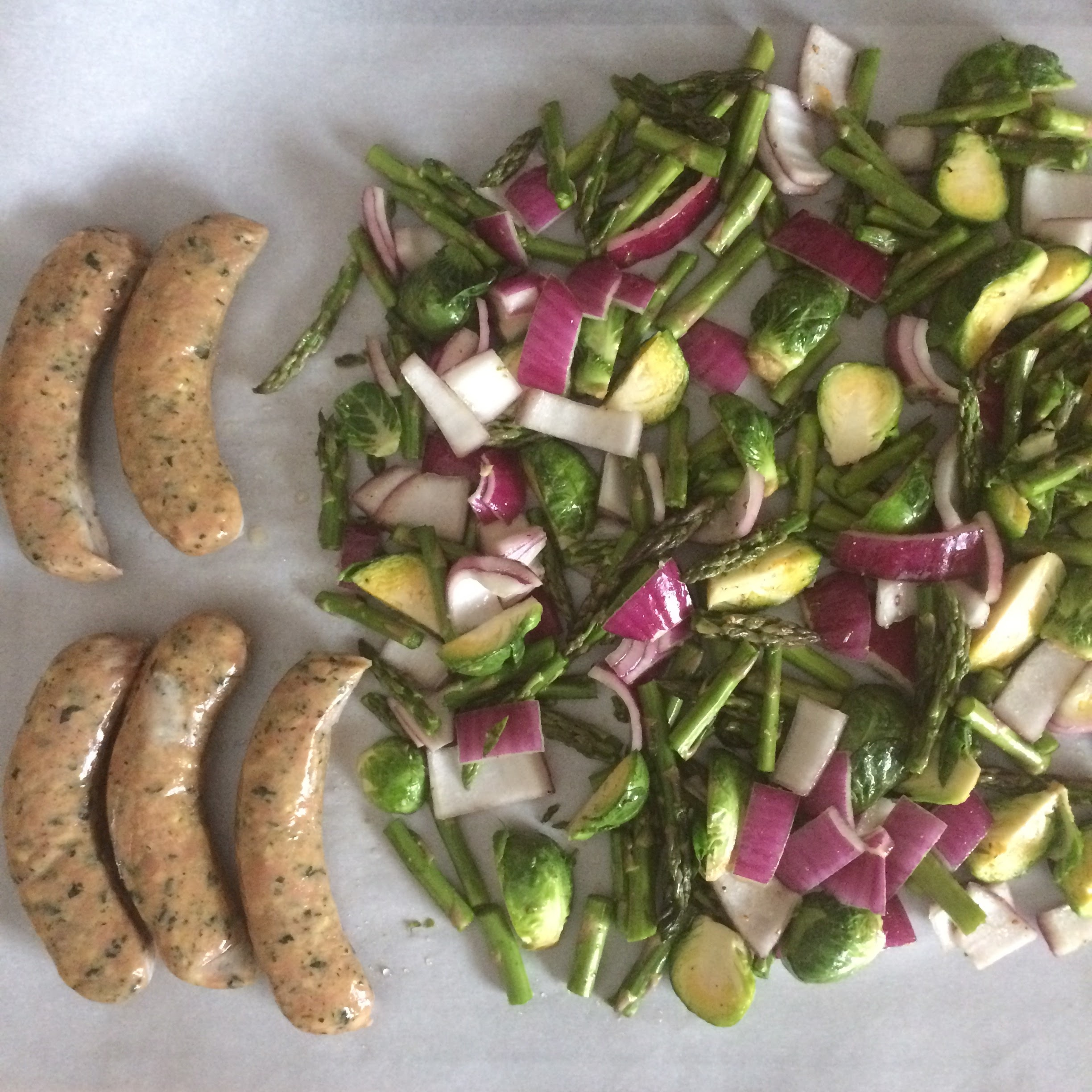 Dinner all on one pan. In the oven on 350 for 20 minutes. Veggies just have coconut oil, salt and peeper on them.