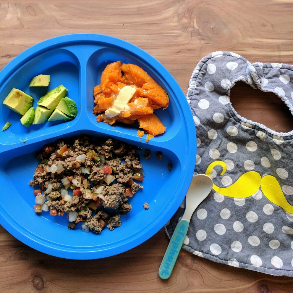 Plating for Children - Serve the sweet potato like mashed potato. Be sure and add butter, they need the extra fat for brain development. If they are an extra picky eater - add cinnamon to the sweet potato and make the avocado into guacamole and serve with chips. Picky eaters tend to do better with having the food seperated as opposed to combined.