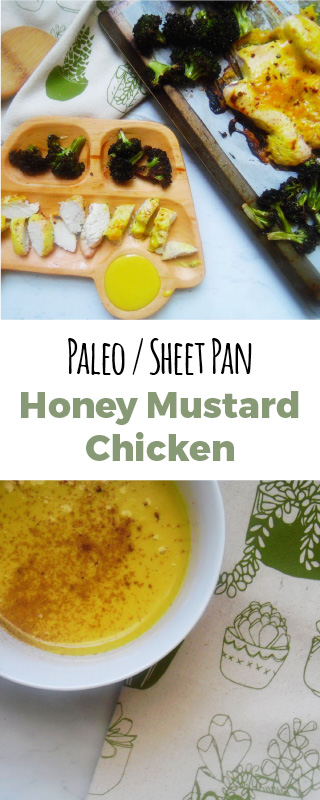 Honey mustard chicken with oven roasted broccoli. Simple weeknight, sheet pan dinner for the win! My kids love this!