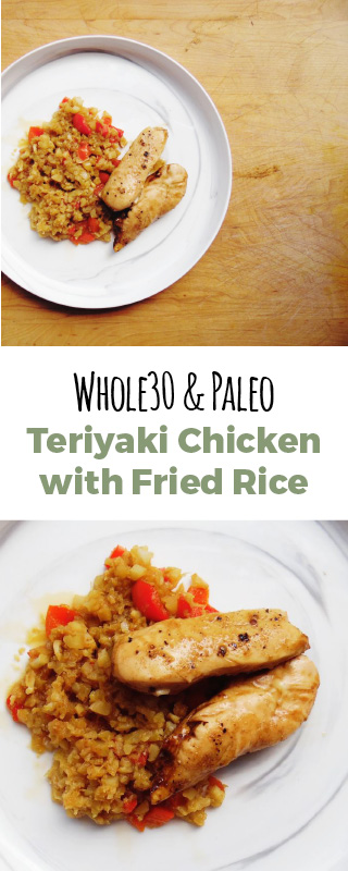 Teriyaki chicken fried rice with pineapple! The cauliflower rice makes this dinner extra healthy, Paleo and Whole30. The meal takes thirty minutes to make!