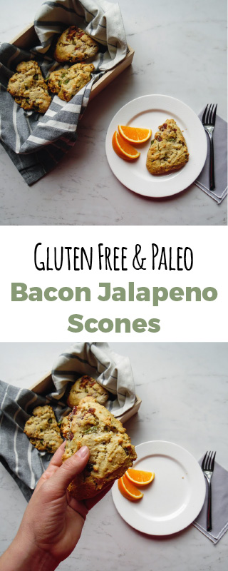 These bacon jalapeno scones are the perfect brunch recipe! They are paleo, gluten free and dairy free.