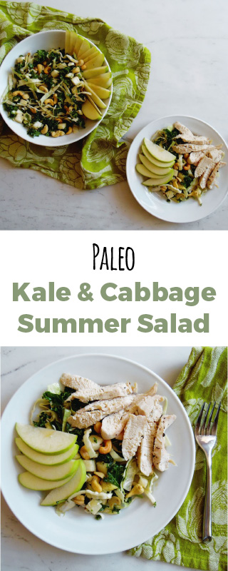 Simple paleo summer salad. With the best ever oven roasted chicken, cabbage, kale, and cashews! Easy to make with the most refreshing flavor.