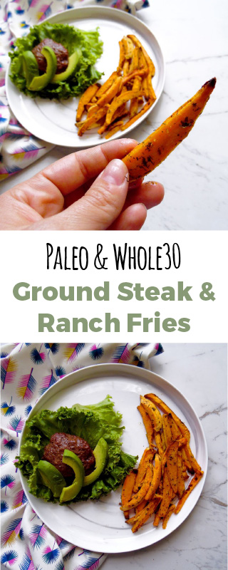 Bunless burgers with ranch style sweet potato fries. This one pan dinner takes thirty minutes to make.