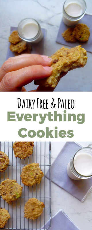 These simple everything cookies are dairy free, gluten free, and paleo.  Ingredients are so healthy they leave you feeling no guilt. #cookies #paleo