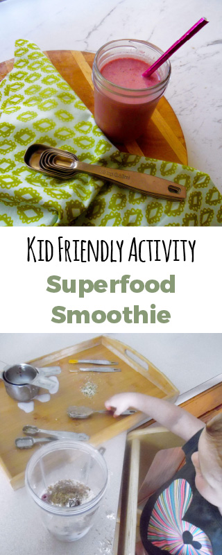 Get in the kitchen with your kids and make this fun superfood smoothie. Using every measuring spoon you got! #paleo #superoodsmoothie