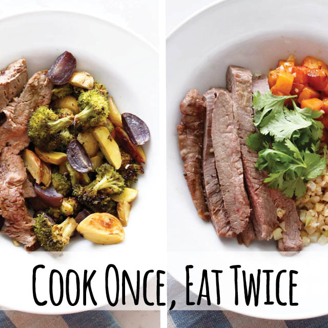 Cook one time and have two totally different paleo dinners. A taco bowl with adobo butternut squash and steak and potatoes with broccoli. Flank steak sheet pan meal is perfection. #glutenfree #dairyfree