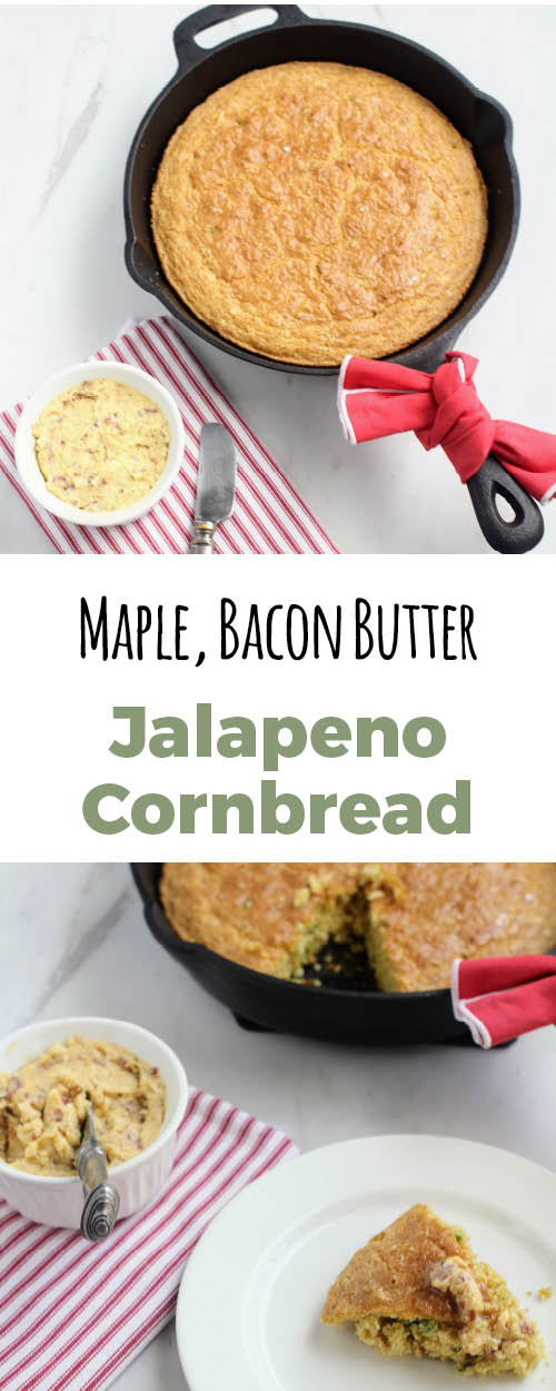 Buttermilk jalapeno cornbread with a maple bacon butter that is a great change up on the traditional.