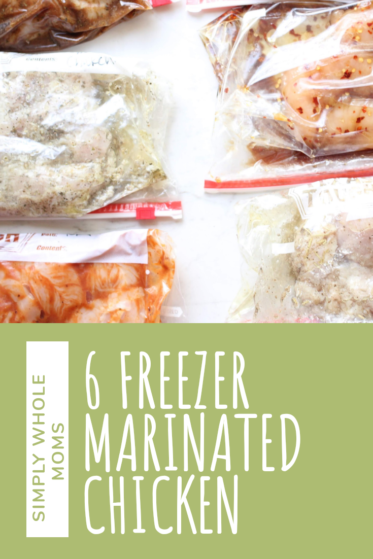 Easy meal prep. Six simple marinated chicken recipes  to make in bulk and freeze for later.