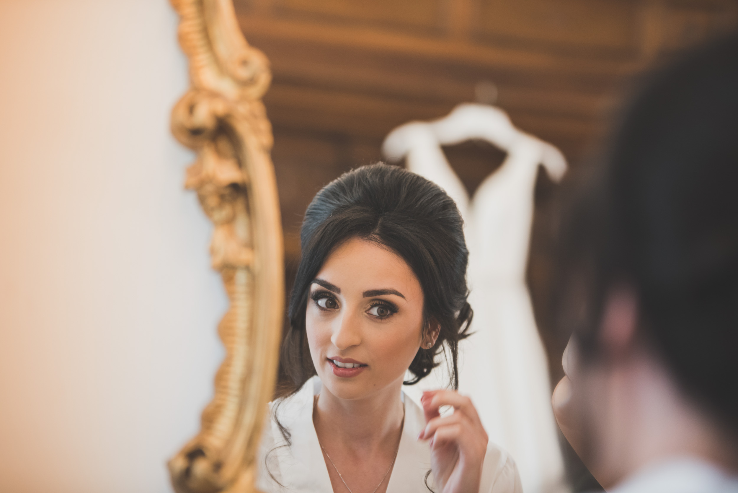 Wedding day preparation with a vintage mirror in a stunning North wales venue