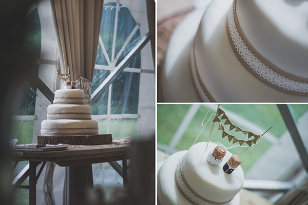 A triptych of a simple and elegant wedding cake.