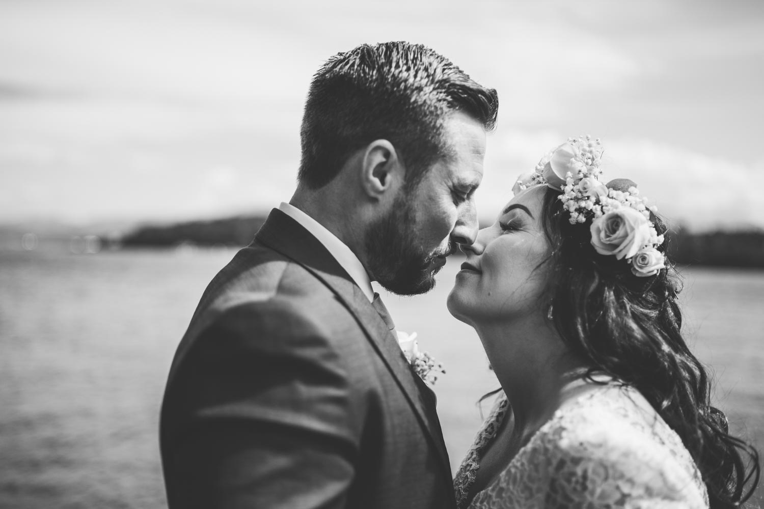 North Wales Chateau Rhianfa seaside wedding bride groom kiss.jpg
