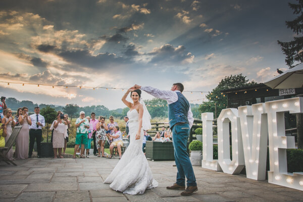 Wedding Photography of an outdoor first dance at Sunset, Tower Hill Barns, North Wales