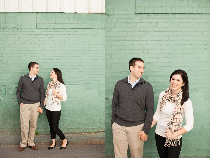 woman wearing burberry scarf during engagement session