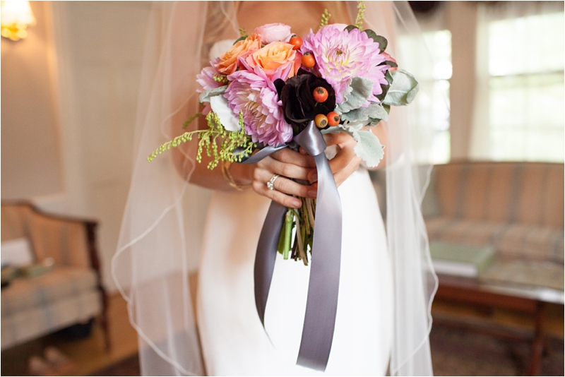 bride with bouquet at the milton hoosic club