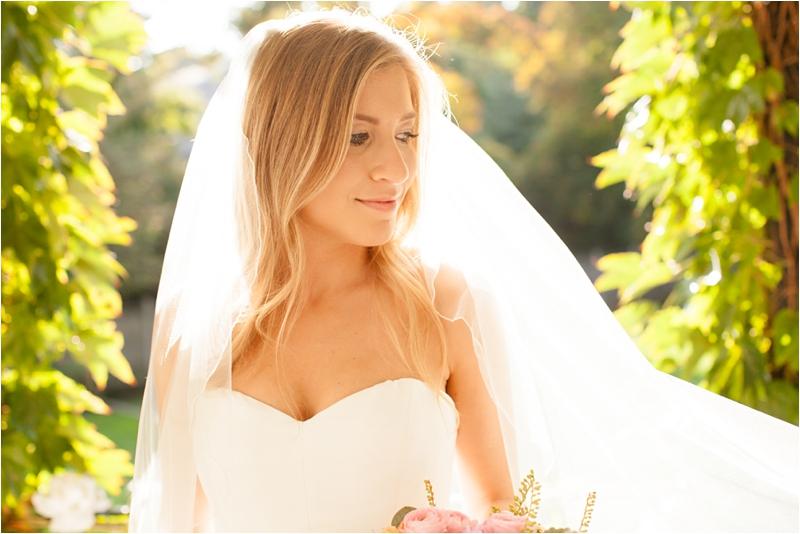 Bride in Nicole Miller gown at milton hoosic club
