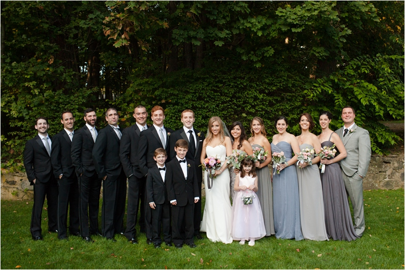 bridal party in purple and grey at the milton hoosic club
