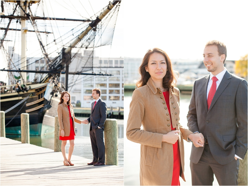Fall Engagement Session with red dress