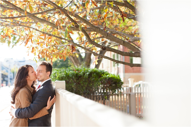 fall foliage during an engagement session in Salem, Massachusetts