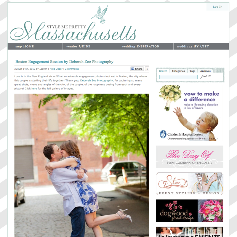 Deborah Zoe Photography featured on Style Me Pretty, Boston Wedding, Boston Engagement