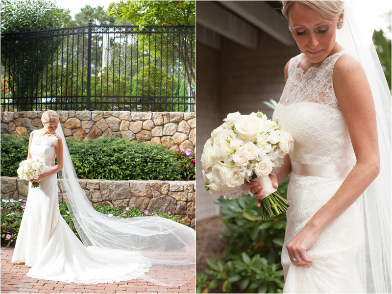 bride with white floral arrangement in simple and classic coast wedding