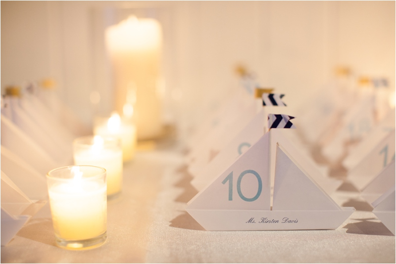 sailboat placecards for guests at Waquesset Resort and Club