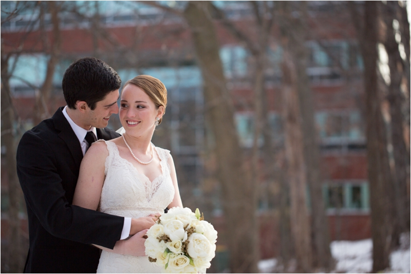 Bride and Groom before L'Andana Grill Winter Wedding