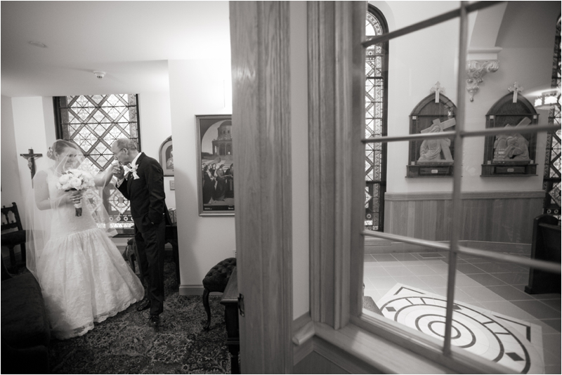 Moment between daughter and father before walking down the aisle