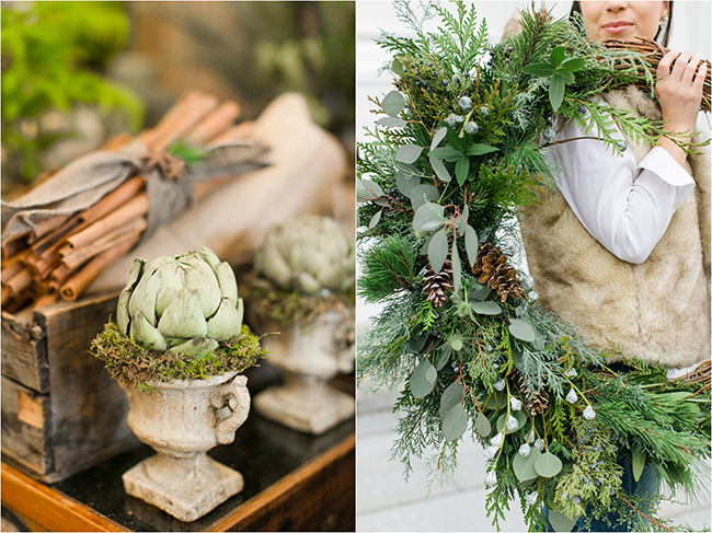 Holiday florals from Les Fleurs in Andover photographed by Deborah Zoe Photography.