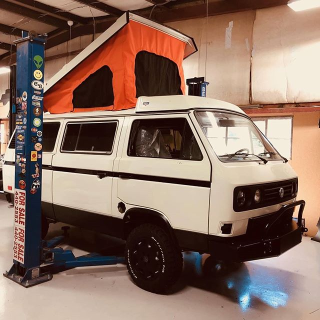 Our latest build is almost done! It's owner picked out a tent with some flare! #vanlife  #vanagonlife  #westylife