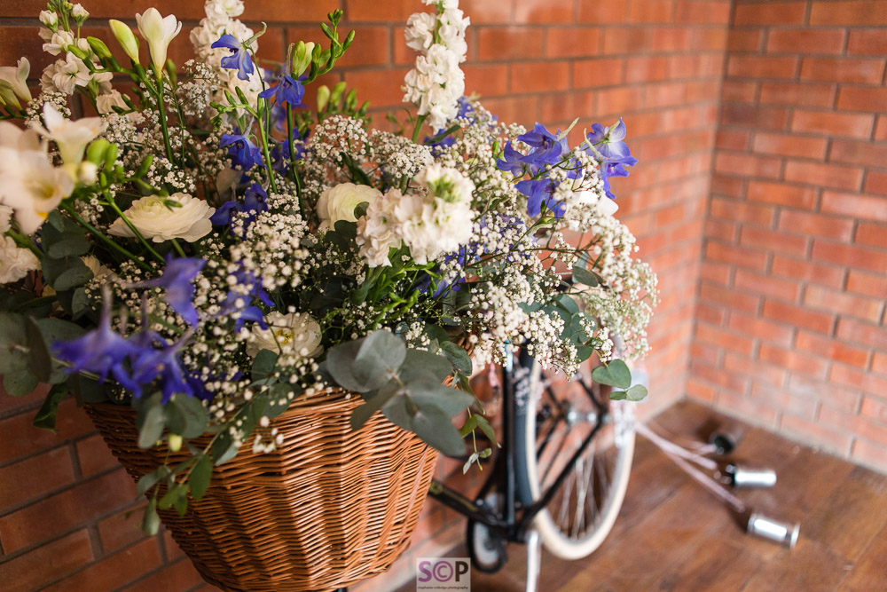 close up of flowers in bicycle basket at onley farm rugby