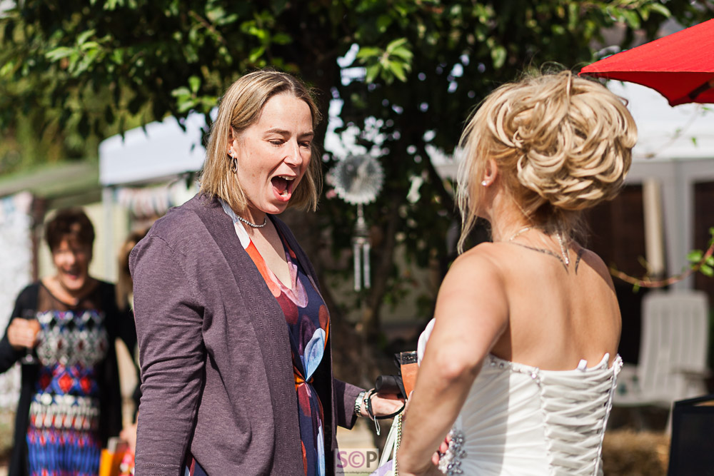 Wedding Party guests delight at the brides dress  Stephanie Colledge Photographjpg