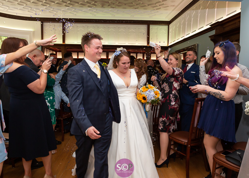 bride and groom confetti exit at pendrell hall