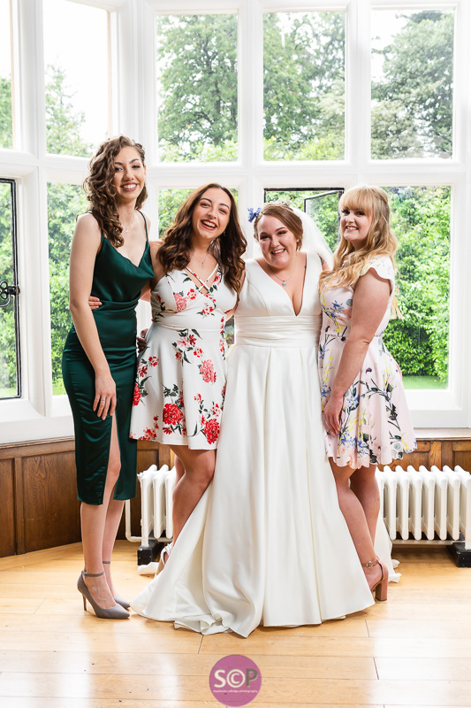 bride and best friends group photo