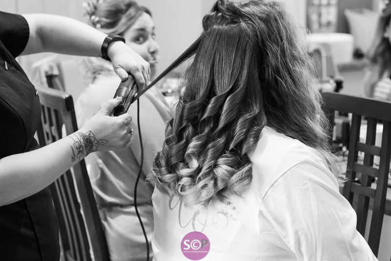 hair being done on wedding day