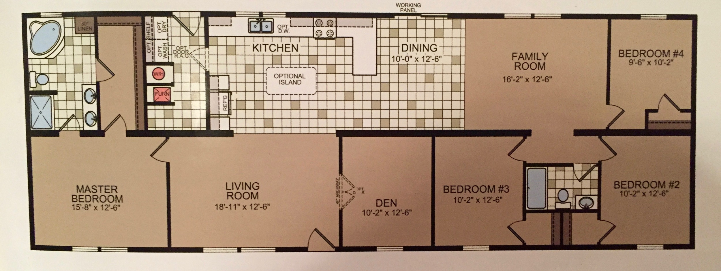 Double-Wide Floor Plan: 5 Bedrooms in 1600 Square Feet ... on double master suite house plans, master bedroom with office floor plans, master bedroom addition plans, bedroom with two master suites house plans, 8 bedroom house plans,