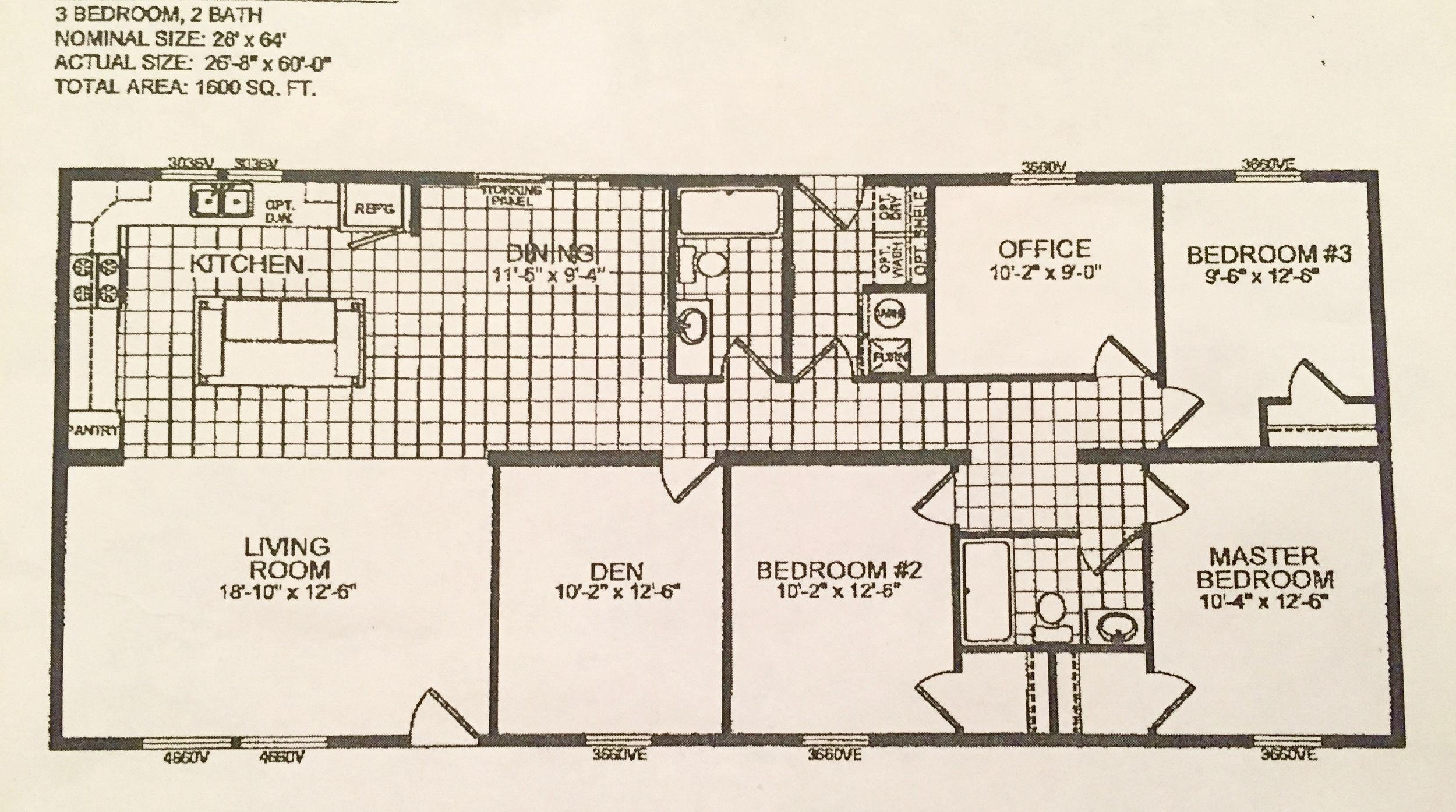 Double-Wide Floor Plan: 5 Bedrooms in 1600 Square Feet ... on 2000 sq ft 4 bedroom house plans, 2100 sq ft 4 bedroom house plans, 1700 sq ft 4 bedroom house plans, 1800 sq ft 4 bedroom house plans, 2200 sq ft 4 bedroom house plans,