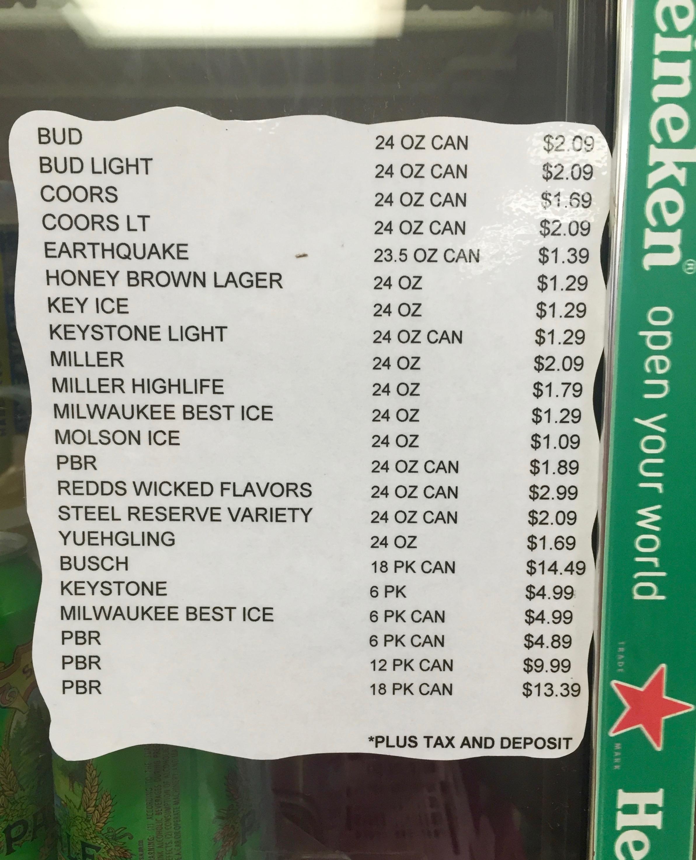 Milk Run Beer List