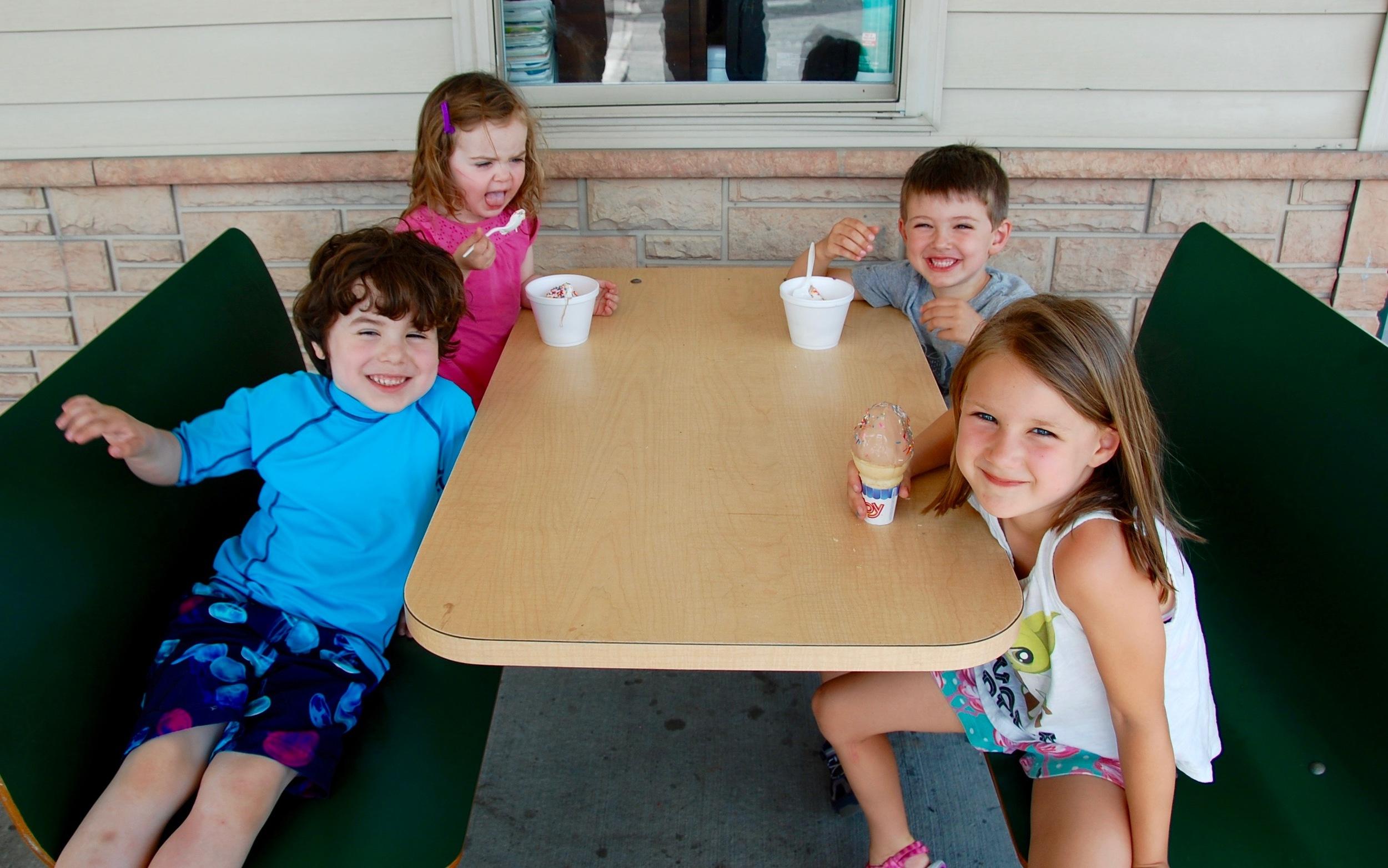 Ice Cream near the Zoom Flume. Soft Serve Ice Cream at the Milk Run in Durham, NY.