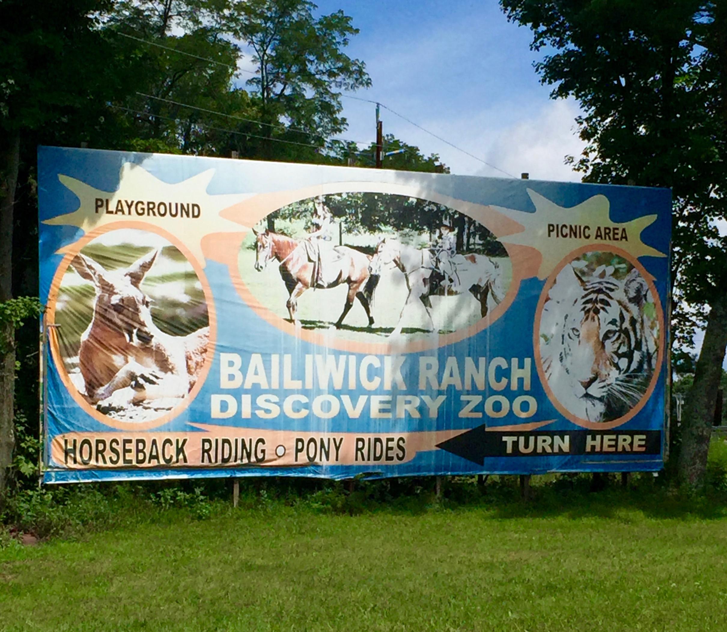 Bailiwick Ranch and Discovery Zoo billboard