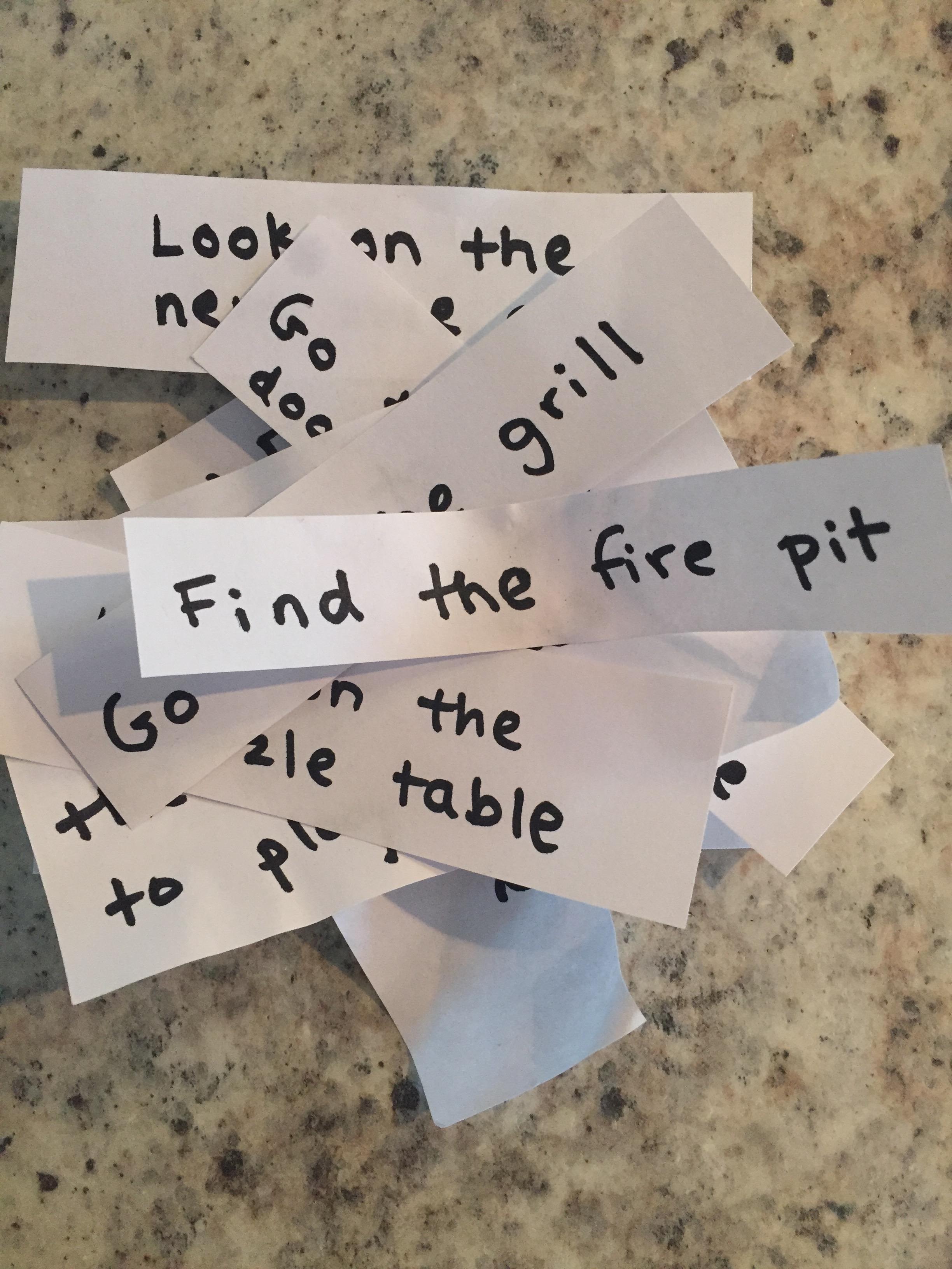 Clues for a kid-friendly  treasure hunt